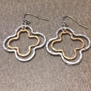 Matte Hammered Silver & Gold Clover Earrings